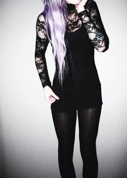 dress grunge little black dress lace dress goth goth hipster top
