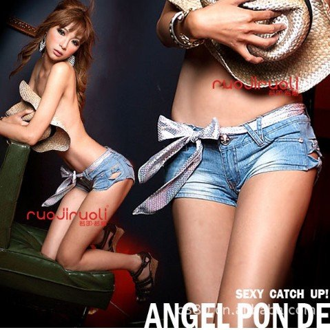 East Knitting Free LJ 100 Classical Detailed Women Side Bow denim pants Cutout Ripped Super Low Waist Shorts Jeans S/M/L-in Jeans from Apparel & Accessories on Aliexpress.com