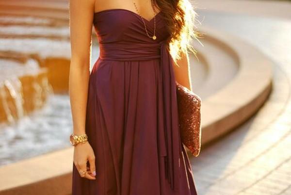 dress strapless dress gold jewelry watch