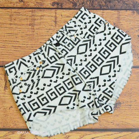 aztec tribal high waist jean shorts maze print | High - Waisted Shorts