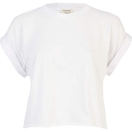 White short sleeve boxy cropped t-shirt - tops - sale - women