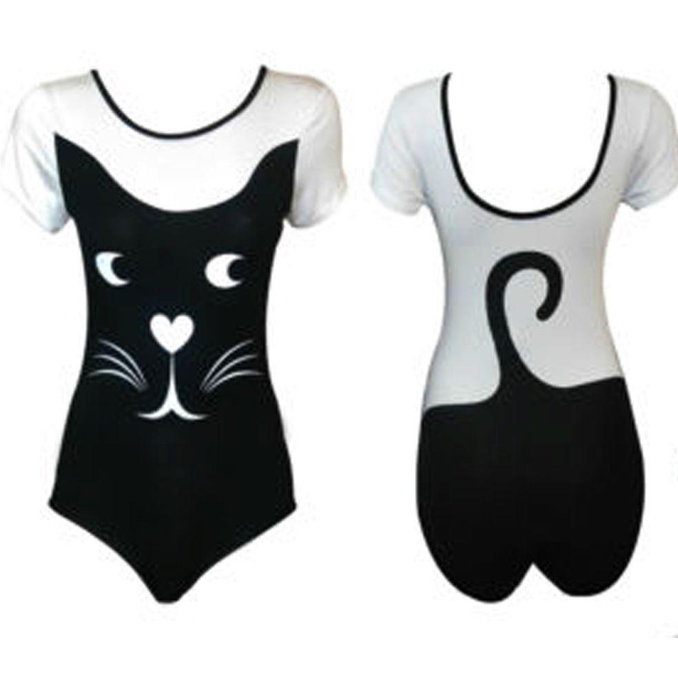 New Womens Animals Cat Print Bodysuit New In Fashion Top M/L | eBay