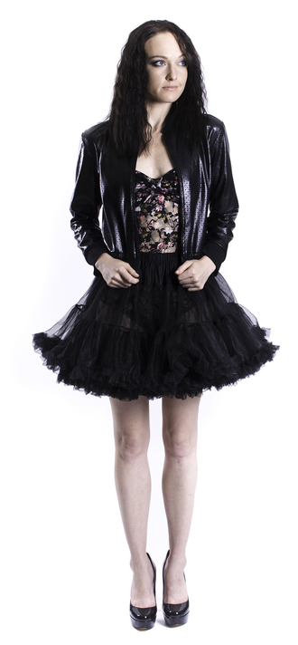 jacket leather jacket bomber jacket faux leather faux leather jacket perforated black lace bodysuit lace bodysuit retro floral floral lace tutu ballerina tulle skirt pink skirt top rochelle carino