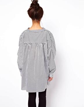 ASOS   ASOS Oversize Smock Shirt in Pinstripe at ASOS