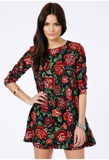 Nishiko Rose Print Swing Oversized Dress - Dresses - Shift Dresses - Missguided | Ireland