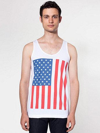 US Flag Print Fine Jersey Tank   American Apparel