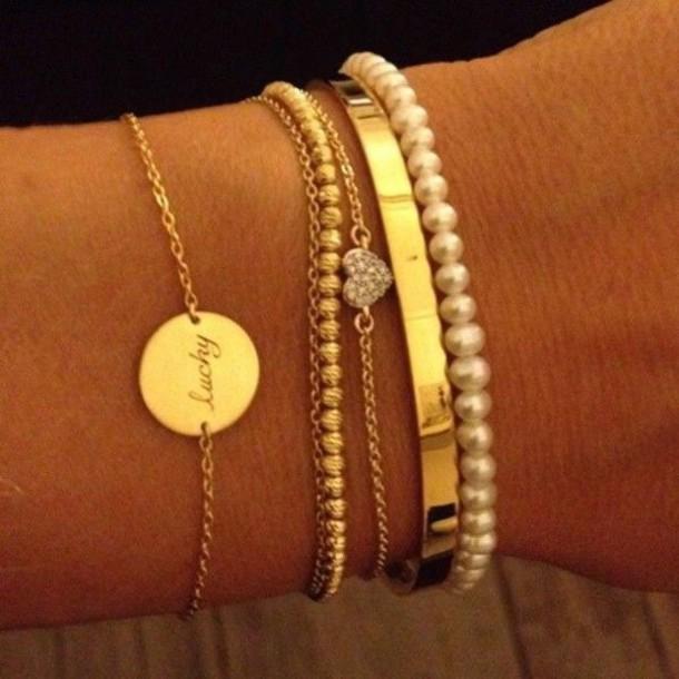 jewels gold and pearl bracelet heart jewelry jewelry