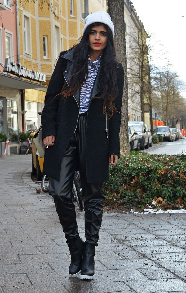 she wears fashion hat coat shirt pants shoes bag