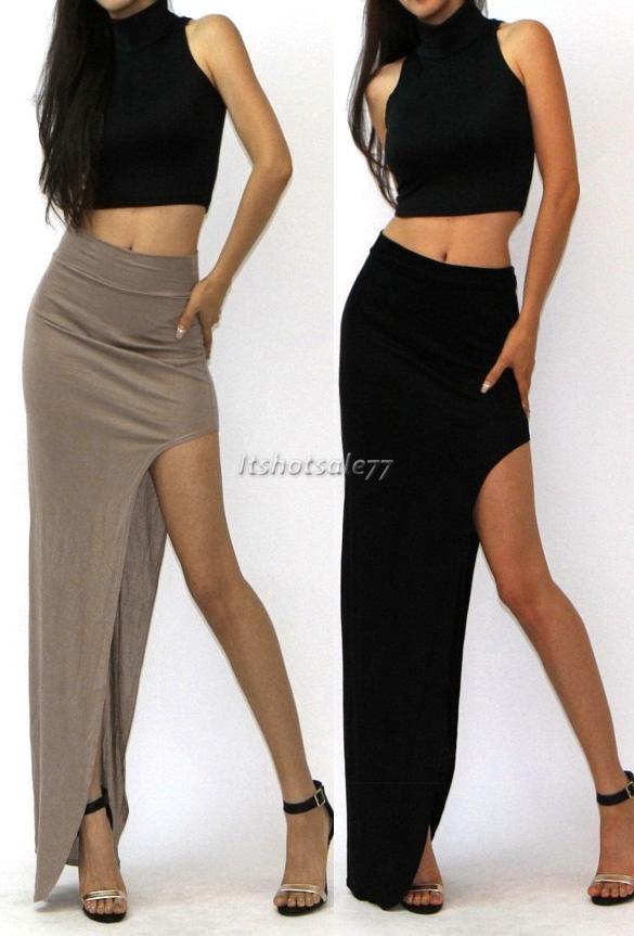 Sexy Womens High Waist Long Maxi Dress LADIES SIDE SPLIT SLIT MAXI MIDI SKIRT | eBay