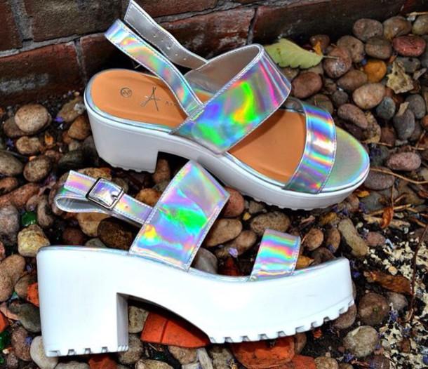 shoes sandals holographic