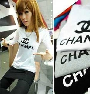 hot sale!2014 new Women Fashion Tops, have letter logo Print Long Sleeve Slimming Tee T shirt color Black ,white. gray-in T-Shirts from Apparel & Accessories on Aliexpress.com