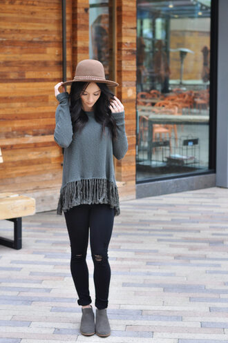 outfits&outings blogger top jeans shoes hat grey sweater felt hat ankle boots black jeans