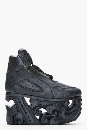 Ktz Black Leather Carved Sole Platform Sneakers for women | SSENSE ($960.00) - Svpply