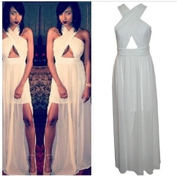 dress white dress twisted cross dress summer dress casual dress maxi dress long dress sexy sexy party dresses