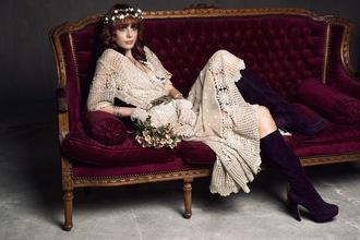 miss pandora blogger dress vintage dress suede boots