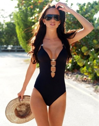swimwear black one piece chanel cut-out open front