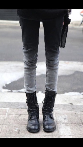 jeans dip dye pants grey black and white cotton dip dyed ombre