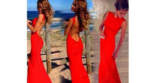 dress red backless mermaid open back prom dress long prom dress elegant dress