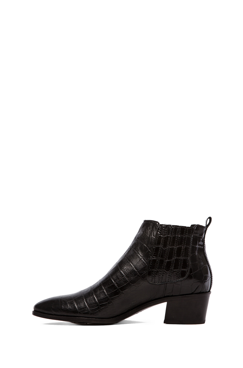 MODERN VICE COLLECTION Handler Bootie in Black Embossed Croc | REVOLVE