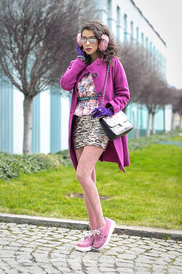 macademian girl coat t-shirt skirt bag shoes sunglasses jewels