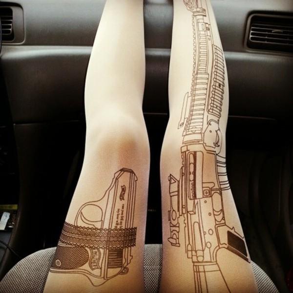 tights print gun