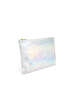 American Apparel | American Apparel Leather Clutch in Metallic Silver at ASOS