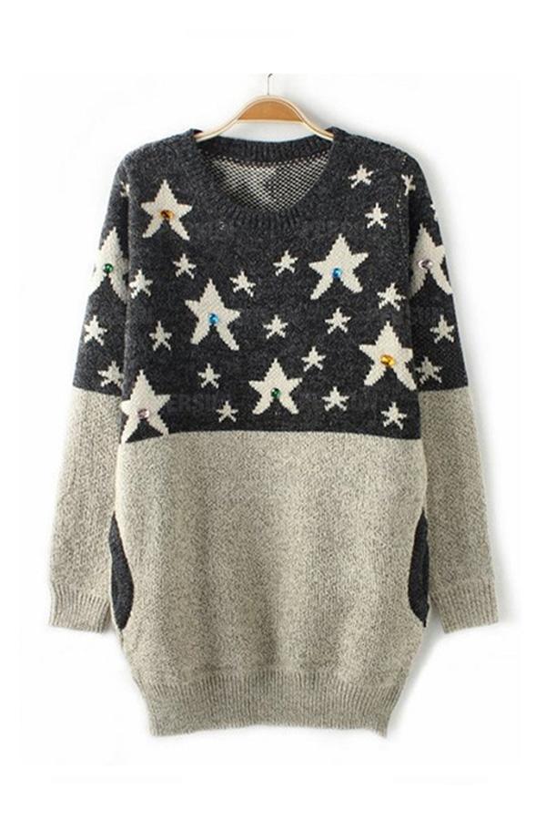 White Star Pattern Contrast Sweater [FKBJ10446] - PersunMall.com