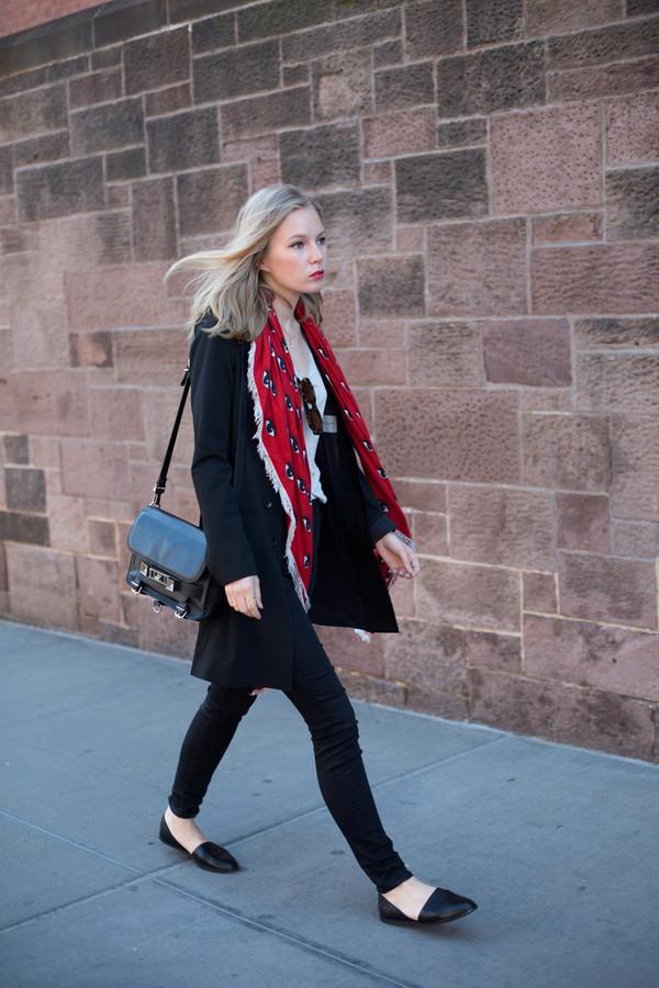scarf jacket top jeans bag shoes