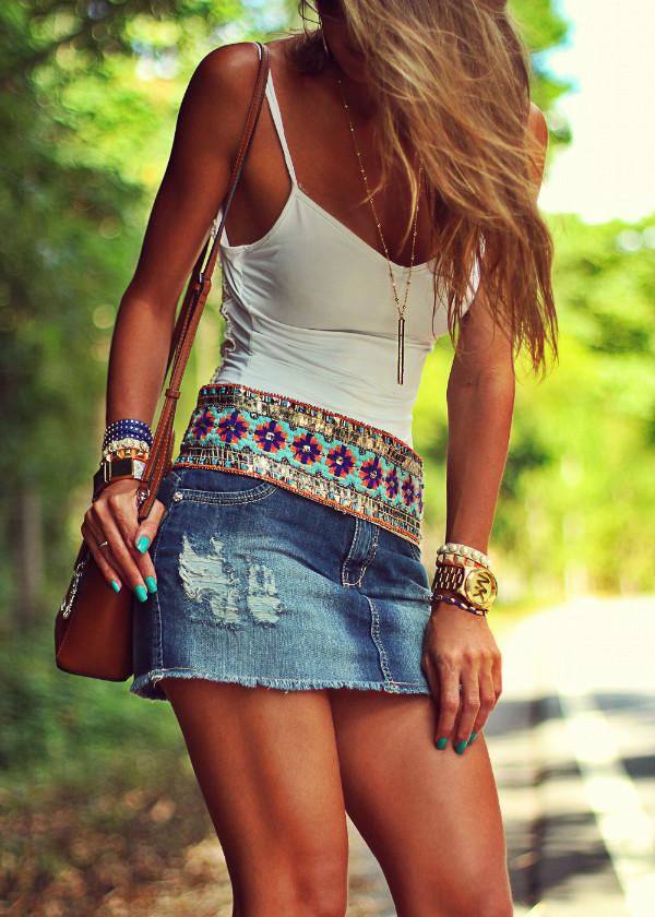 decor e salto alto skirt jeans jewels shoes