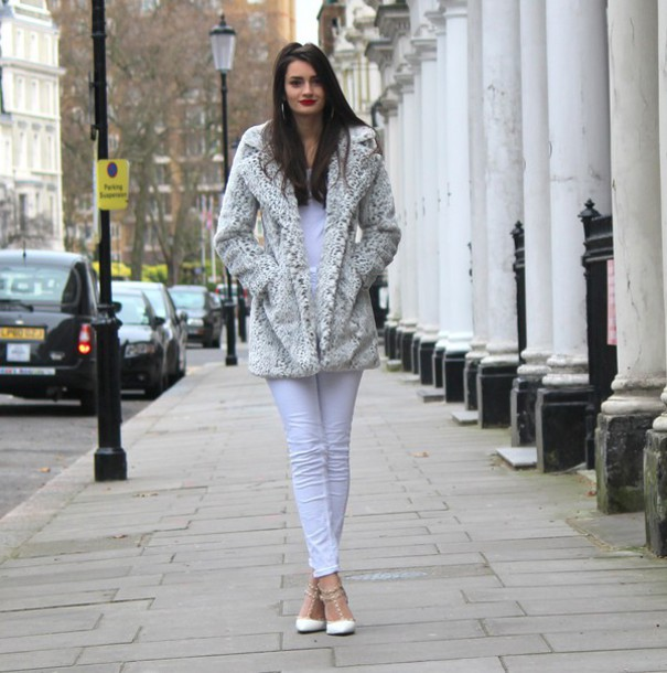 peexo blogger coat top jeans shoes