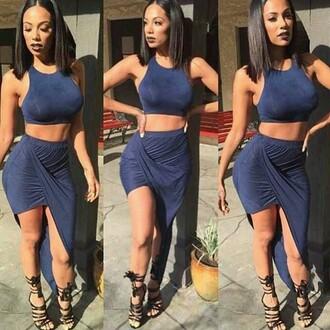 skirt royal blue asymmetrical skirt tight top dress navy nastygal halter neck halter top bodycon skirt draya michele draped skirt draped suede two piece dress set