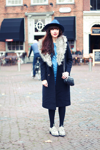 a dash of fash blogger bag socks winter coat navy derbies