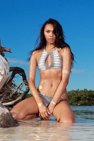 swimwear bikini sexy summer beach trendy tan hot bikiniluxe racerback halter top soah soah swimsuit top bikini top print