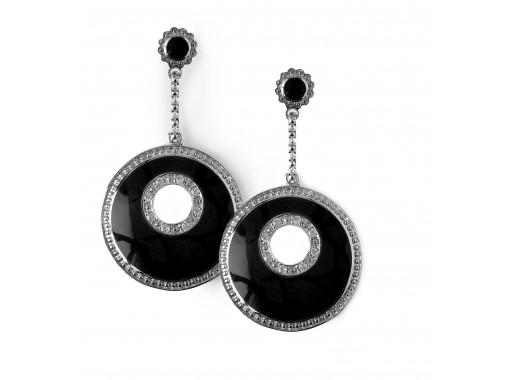 Love Earrings - Black, Rhodium