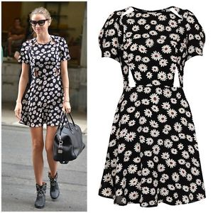 TOPSHOP *Daisy Print Cutout Tea Dress* _UK_SIZE_ Petite Size 10 | eBay