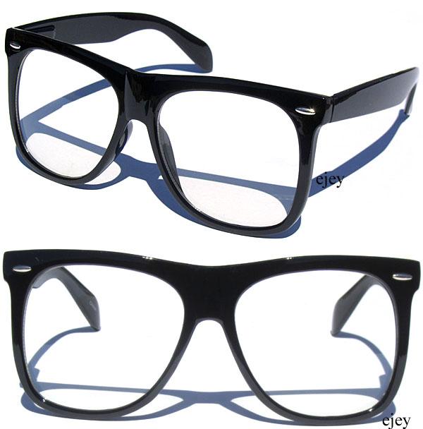 Oversize Cool Wayfarer Retro Glasses Clear Lens Black Frame Hipster Nerd Smart | eBay