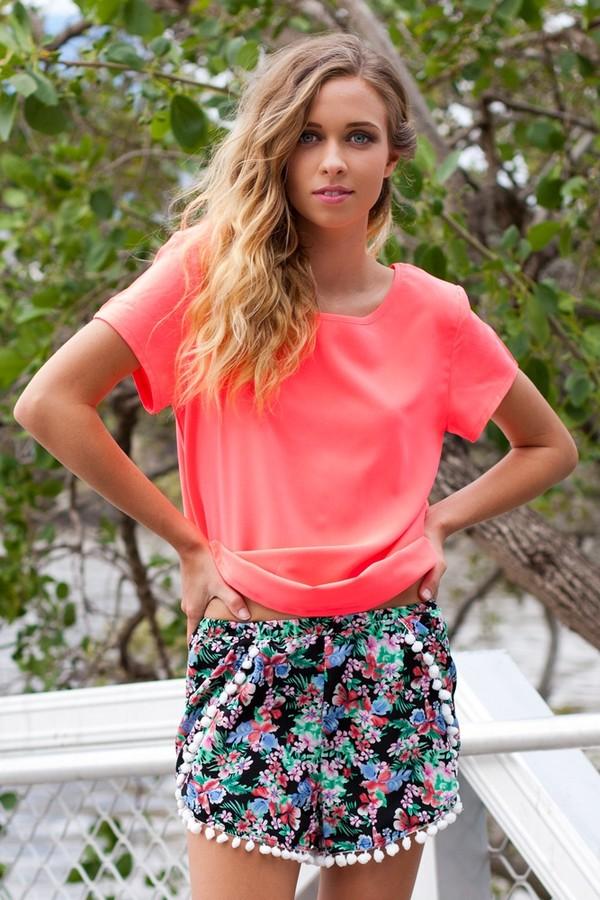 blouse neon orange orange top pom poms black cute pompom shorts pompom trim cute shorts shorts