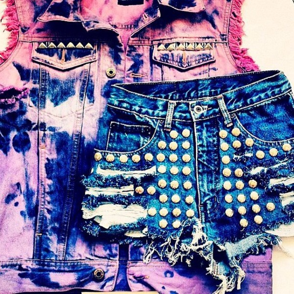 shorts High waisted shorts tie dye studs vest ripped pink