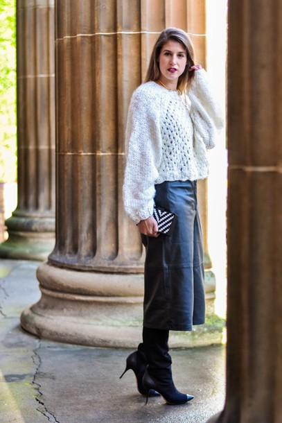 thank fifi blogger leather pants culottes knitted sweater leather culottes