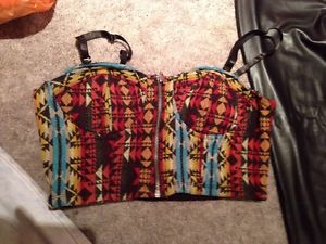 Tribal Aztec Southwestern Bustier Forever 21 TOPSHOP Crop Top Shirt | eBay