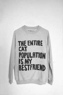 """""""THE ENTIRE CAT POPULATION IS MY BEST FRIEND"""" SWEATSHIRT on The Hunt"""
