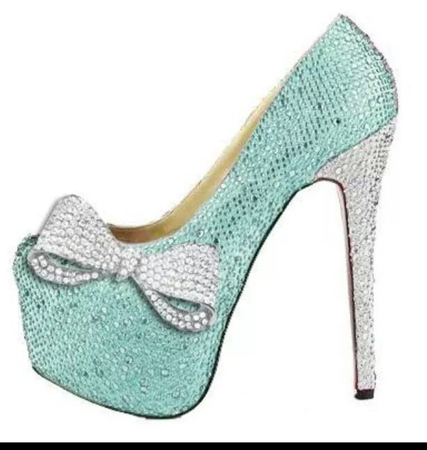 shoes mint bows cute shoes sparkly high heels mint