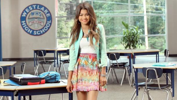 zendaya skirt jacket tribal pattern colorful summer outfits