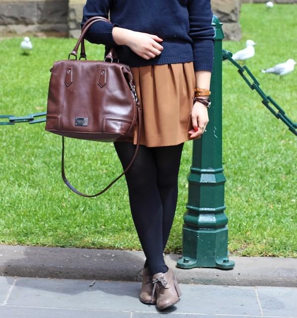 an odd girl sweater skirt shoes bag jewels