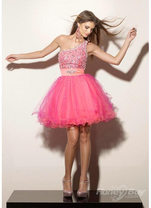 One Shoulder Beading Empire Waist Short Organza Ladies Cocktail Dresses