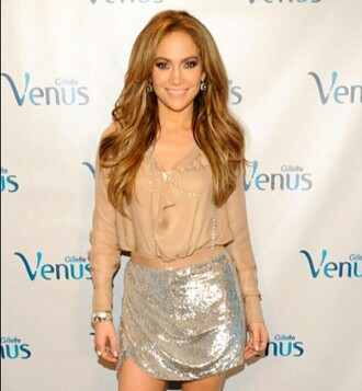 skirt gold sliver metallic jennifer lopez