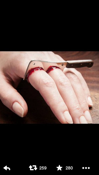 jewels ring blood knife ring gross