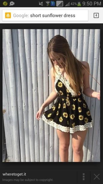 dress summer dress sunflower sunflower print short dress loose dress party dress