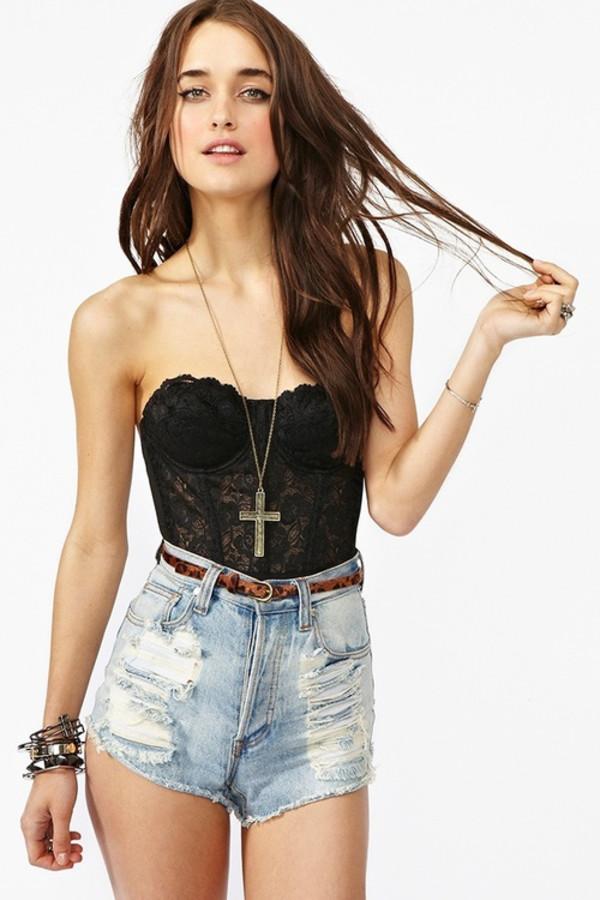 shirt shorts swimwear lace bustier black top cute bralette grunge cross necklace jewels