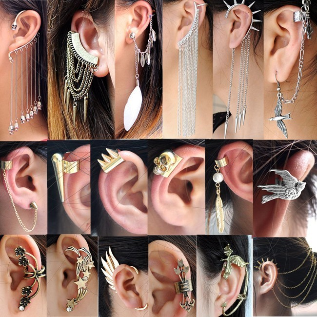 Hot Punk Gothic Temtation Metallic Dragon Ear Cuff Wrap Clip Hair Comb Earrings | eBay